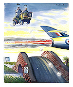 (Military men driving a jeep over a humpback bridge jump over a low flying plane)