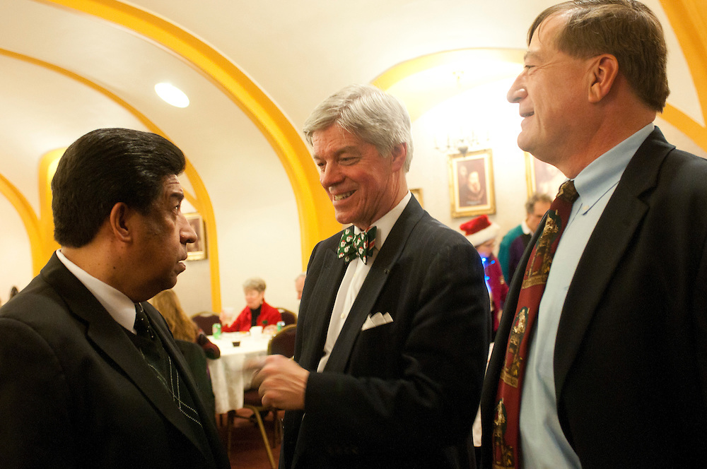 """Cook County Deputy Assessor of Legal Thaddeus """"Ted"""" J. Makarewicz (center) chats with Illinois Appellate Court Justice Jesse G. Reyes (left) and Retired Cook County Circuit Court Judge John A. Wasilewski during a Holiday Meeting of The Advocate Society/Association of Polish-American Attorneys at the Copernicus Foundation on Friday, December 21st. © 2012 Brian J. Morowczynski ViaPhotos"""
