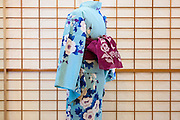 JAPAN, TOKYO -  Kururi Kimono light blue and light pink flowers, Dark blue leaves - from the shop Kururi in Omotesando - 06-2014