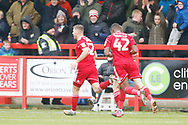 2-0, goal celebration by Dion Charles of Accrington   during the EFL Sky Bet League 1 match between Accrington Stanley and AFC Wimbledon at the Fraser Eagle Stadium, Accrington, England on 1 February 2020.