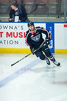 KELOWNA, BC - FEBRUARY 12: Edge Lambert #24 of the Tri-City Americans warms up on the ice against the Kelowna Rockets at Prospera Place on February 8, 2020 in Kelowna, Canada. (Photo by Marissa Baecker/Shoot the Breeze)