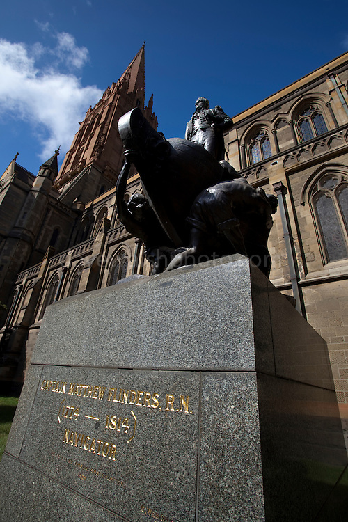Statue of explorer Matthew Flinders at St. Paul's Cathedral, Melbourne, Australia. Designed by Charles Web Gilbert, made at the  Barbedienne Foundry, Paris