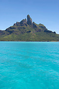 Mount Otemanu, Bora Bora, Society Islands, photographed  from across the lagoon