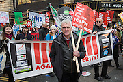 John McDonnell MP, shadow chancellor taking part in the 4 Demands People's Assembly demonstration that took place in central London on the 16th of April 2016.  Supported by all the major trade unions including PCS, focusing on a range of issues:  the defence of the NHS, the right to decent housing for everyone, investment in real and useful jobs, defence of Trade Union rights and a fully free and comprehensive Education system.
