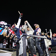 Jermaine Jones, New England Revolution, with the New England Revolution fans after their sides aggregate victory during the New England Revolution Vs New York Red Bulls, MLS Eastern Conference Final, second leg. Gillette Stadium, Foxborough, Massachusetts, USA. 29th November 2014. Photo Tim Clayton