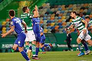 João Palhinha dispair after missing an opportunity during the Liga NOS match between Sporting Lisbon and Belenenses SAD at Estadio Jose Alvalade, Lisbon, Portugal on 21 April 2021.