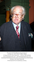 SIR JOHN MORTIMER at a luncheon in London on 18th March 2003.PIB 86