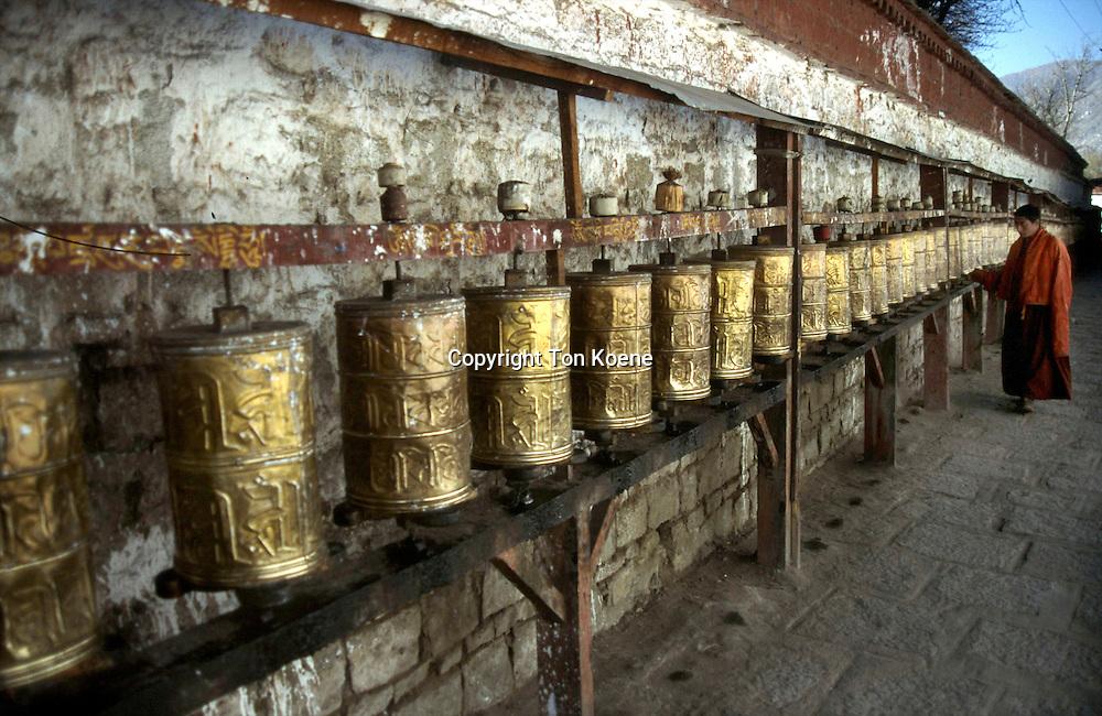 a prayer wheel in Tibet
