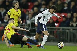 BRITAIN-LONDON-FOOTBALL-PREMIER LEAGUE-TOTTENHAM HOTSPUR VS WATFORD.(180430) -- LONDON, April 30, 2018  Tottenham Hotspur's Dele Alli (R) competes for the ball with Watford's Craig Cathcart during the Premier League football match between Tottenham Hotspur and Watford at Wembley Stadium in London, Britain on April 30, 2018. Tottenham Hotspur won 2-0.  FOR EDITORIAL USE ONLY. NOT FOR SALE FOR MARKETING OR ADVERTISING CAMPAIGNS. NO USE WITH UNAUTHORIZED AUDIO, VIDEO, DATA, FIXTURE LISTS, CLUB/LEAGUE LOGOS OR ''LIVE'' SERVICES. ONLINE IN-MATCH USE LIMITED TO 45 IMAGES, NO VIDEO EMULATION. NO USE IN BETTING, GAMES OR SINGLE CLUB/LEAGUE/PLAYER PUBLICATIONS. (Credit Image: © Tim Ireland/Xinhua via ZUMA Wire)