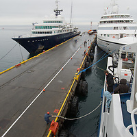 Cruise ships docked at Punta Arenas, Chile, by the Strait of Magellan.