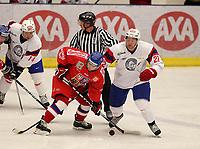 Ishockey , <br /> Landskamp<br /> 02.04.2011 <br /> Gjøvik Fjellhall<br /> Norge  v  Tsjekkia  1-2<br /> Foto:Dagfinn Limoseth  -  Digitalsport<br /> Lars Erik Hesbråthen   og Martin Røymark , Norge