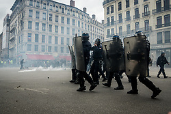 May 4, 2019 - Lyon, France - 25th day of mobilisation of the Yellow Vests movement in Lyon, France, on May 4, 2019. Many members of the environmental movement Youth For Climate participated in the demonstration hoping for a convergence of the struggles with the yellow vest movement. Some clashes took place with the police at the end of the demonstration, who used tear gas to disperse the crowd. (Credit Image: © Nicolas Liponne/NurPhoto via ZUMA Press)