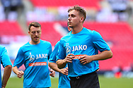 Harrogate Town striker Jack Diamond (23) in the warm up  during the Vanarama National League Promotion Final match between Harrogate Town and Notts County at Wembley Stadium, London, England on 2 August 2020.