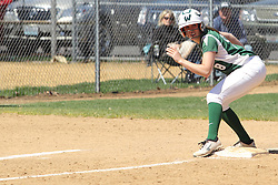 11 April 2015:  Stephanie Prentice during an NCAA Division III women's softball game between the Washington University Bears and the Illinois Wesleyan Titans in Bloomington IL