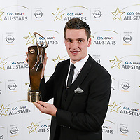 8 November 2013; Clare hurler Conor Ryan with his 2013 GAA GPA All-Star award, sponsored by Opel, at the 2013 GAA GPA All-Star awards in Croke Park, Dublin. Picture credit: Paul Mohan / SPORTSFILE *** NO REPRODUCTION FEE ***