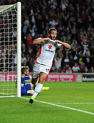 Milton Keynes Dons' Will Grigg celebrates his second goal of the game - Photo mandatory by-line: Joe Meredith/JMP - Mobile: 07966 386802 26/08/2014 - SPORT - FOOTBALL - Milton Keynes - Stadium MK - Milton Keynes Dons v Manchester United - Capital One Cup