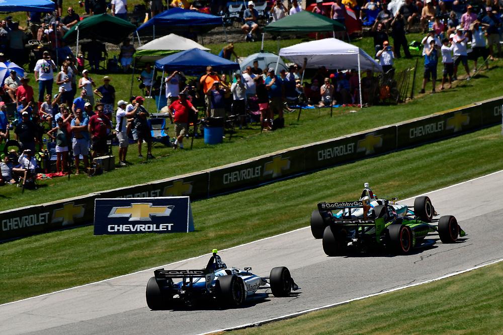 Max Chilton, Carlin Chevrolet, Charlie Kimball<br /> Sunday 24 June 2018<br /> KOHLER Grand Prix at Road America<br /> Verizon IndyCar Series<br /> Road America WI USA<br /> World Copyright: Scott R LePage