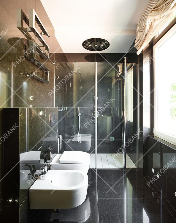 interior modern house,  black bathroom, toilet and bidet view