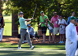 Charley Hoffman takes his second shot from the 8th fairway during the third round of the Masters Tournament at Augusta National Golf Club in Augusta, Ga., on Saturday, April 8, 2017. (Photo by Brant Sanderlin/Atlanta Journal-Constitution/TNS) *** Please Use Credit from Credit Field ***