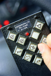 Hand control panel inside a specially adapted car for a disabled driver,