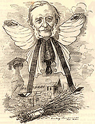 George Granville Bradley (1821-1903) English clergyman, classicist and schoolmaster.  Headmaster of Harrow School (1845-1858), Headmaster of Marlborough College (1858-1870), Dean of Westminster (1881-1902). Cartoon by Edward Linley Sambourne in the Punch's Fancy Portraits series from 'Punch' (London, l October 1881).