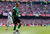Photo: Daniel Hambury.<br />Liverpool v West Ham United. The FA Cup Final. 13/05/2006.<br />Liverpool's goal keeper Jose Reina celebrates after he saves a penalty from Bobby Zamora.