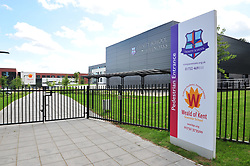 © Licensed to London News Pictures.01/08/2017.<br /> SEVENOAKS,UK.<br /> New grammar school gets finishing touch before it opens for the new school year in September. The Weald of Kent Grammar school for girls on Seal Hollow Road,Sevenoaks,Kent, shares the site with Trinity School and cost £11 million to build it includes 25 classrooms,dining hall, lecture theatre and sports hall. <br /> Photo credit: Grant Falvey/LNP