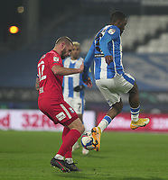 Huddersfield Town's Isaac Mbenza in action with  Birmingham City's Harlee Dean<br /> <br /> Photographer Mick Walker/CameraSport<br /> <br /> The EFL Sky Bet Championship - Huddersfield Town v Birmingham City - Tuesday 2nd March 2021 - The John Smith's Stadium - Huddersfield<br /> <br /> World Copyright © 2020 CameraSport. All rights reserved. 43 Linden Ave. Countesthorpe. Leicester. England. LE8 5PG - Tel: +44 (0) 116 277 4147 - admin@camerasport.com - www.camerasport.com
