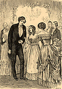 Morris Townsend the penniless adventurer is introduced by Marian Almond (centre) to Catherine Sloper, the plain heiress he planned to marry for her money.   Illustration for the serialisation of 'Washington Square' by Henry James in 'The Cornhill Magazine' (London, 1880).