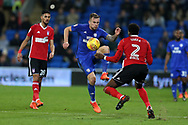 Joe Ralls of Cardiff city © is challenged by Dominic Iorfa of Ipswich Town (2). .  EFL Skybet championship match, Cardiff city v Ipswich Town at the Cardiff city stadium in Cardiff, South Wales on Tuesday 31st October 2017.<br /> pic by Andrew Orchard, Andrew Orchard sports photography.