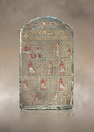 Ancient Egyptian stele of commander in chief Senebetysy, sandstone, Middle Kingdom, 13th Dynasty, (11759-1700 BC), Deir el-Medina, Old Fund cat 1629. Egyptian Museum, Turin. <br /> <br /> Stet for the commander in chief of the city regiment of Sarenenutrt, son of Sainyt and his wife Senebtysy. .<br /> <br /> If you prefer to buy from our ALAMY PHOTO LIBRARY  Collection visit : https://www.alamy.com/portfolio/paul-williams-funkystock/ancient-egyptian-art-artefacts.html  . Type -   Turin   - into the LOWER SEARCH WITHIN GALLERY box. Refine search by adding background colour, subject etc<br /> <br /> Visit our ANCIENT WORLD PHOTO COLLECTIONS for more photos to download or buy as wall art prints https://funkystock.photoshelter.com/gallery-collection/Ancient-World-Art-Antiquities-Historic-Sites-Pictures-Images-of/C00006u26yqSkDOM