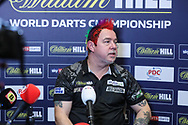 Peter Wright post match press conference during the PDC William Hill World Darts Championship Semi-Final at Alexandra Palace, London, United Kingdom on 30 December 2019.