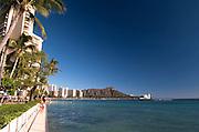Waikiki walkway and Diamond Head in the distance.