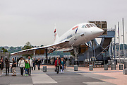 British Airways Concorde supersonic jet at the Intrepid Sea, Air & Space Museum is a military and maritime history museum with a collection of museum ships in New York City.