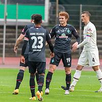 07.10.2020, wohninvest Weserstadion Platz 11, Bremen, GER, FSP SV WERDER BREMEN  vs 1. FC St. Pauli<br /> <br /> im Bild / picture shows <br /> <br /> jubel 2:0 Joshua Sargent (Werder Bremen #19) mit Kevin Möhwald / Moehwald (Werder Bremen #06)<br /> +isTheodor Gebre Selassie (Werder Bremen #23)<br /> <br /> Foto © nordphoto / Kokenge