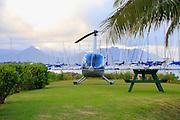 Robinson 44 helicopter, Kaneohe Bay, Oau, Hawaii