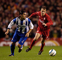 Fotball<br /> UEFA Champions League<br /> Foto: SBI/Digitalsport<br /> NORWAY ONLY<br /> <br /> Liverpool v Deportivo La Coruna<br /> 19/10/2004.<br /> <br /> Liverpool's Dietmar Hamann (R) tries to keep pace with Deportivo's Aldo Duscher