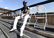 GLENDALE, ARIZONA - FEBRUARY 23:  Tim Anderson #7 of the Chicago White Sox looks on prior to the game against the Los Angeles Dodgers on February 23, 2019 at Camelback Ranch in Glendale Arizona.  (Photo by Ron Vesely)  Subject:  Tim Anderson