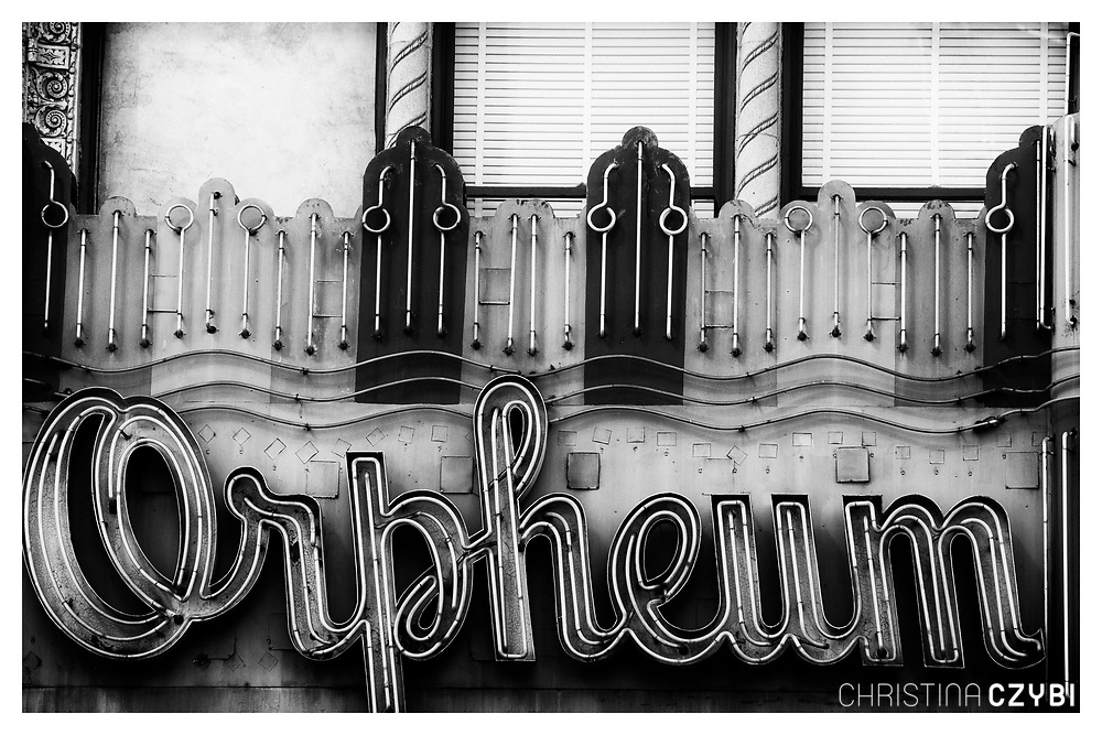 The Streets of Los Angeles: Historic Orpheum Neon Sign on Broadway in Downtown