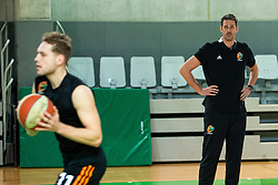 Jaka Blazic of Cedevita Olimpija and Jurica Golemac, new head coach during his first practice with team KK Cedevita Olimpija on January 28, 2020 in Arena Stozice, Ljubljana, Slovenia. Photo By Grega Valancic / Sportida