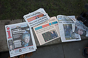 A selection of British newspapers showing front page stories of the Conservative Party confidence vote in the leadership of Britains Prime Minister Theresa May on the 13th December 2018 in Central London in the United Kingdom.