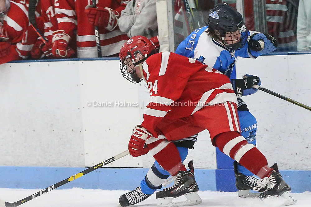(2/13/19, FRANKLIN, MA) Franklin's NAME DOESTHIS during the hockey game against St. John's at Pirelli Veterans Arena in Franklin on Wednesday. [Daily News and Wicked Local Photo/Dan Holmes]<br /> <br /> (2/13/19, FRANKLIN, MA) St. John's NAME DOESTHIS during the hockey game against Franklin at Pirelli Veterans Arena in Franklin on Wednesday. [Daily News and Wicked Local Photo/Dan Holmes]