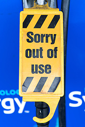 © Licensed to London News Pictures. 24/09/2021. London, UK. A fuel pump has a closed sign at a petrol station due to the problems with the supply and distribution chain. Companies including BP and Shell have restricted deliveries due to the lack of HGV drivers. Photo credit: Ray Tang/LNP