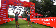 John Smit and Shane Chorley celibrate finishing the Momentum Health Tankwa Trek, presented by Biogen, on Sunday the 12th of February 2017 by performing the Tankwa Lift on the finish line.