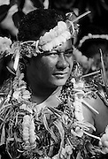 South Pacific islander in native dress at traditional tribal ceremony  in Nauru, South Pacific