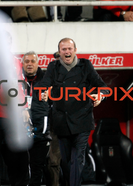 Gaziantepspor's coach Abdullah Ercan celebrate goal during their Turkish superleague soccer match Besiktas between Gaziantepspor at BJK Inonu Stadium in Istanbul Turkey on Tuesday, 05 January 2012. Photo by TURKPIX