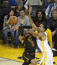 May 31, 2018 - Oakland, California, U.S - Jordan Clarkson #8 of the Cleveland  Cavaliers loses the  ball during  their NBA Championship Game 1 with the  Golden State Warriors  at Oracle Arena in Oakland,  California on Thursday,  May 31, 2018. ARMANDO  ARORIZO/PI (Credit Image: © Prensa Internacional via ZUMA Wire)