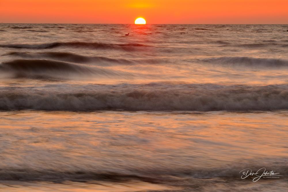 Gulf beach and surf after sunset, North Jetty and Nokomis Beach, Nokomis, Florida, USA