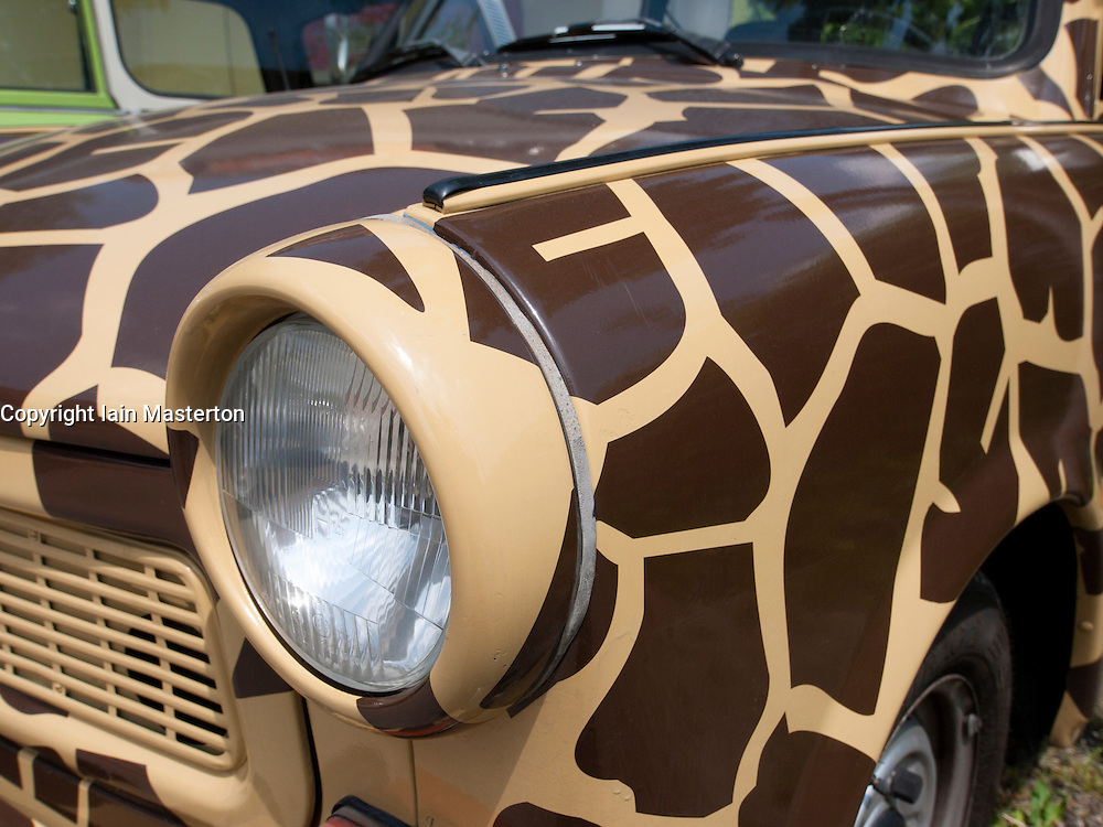 Detail of Trabant car with animal pattern paintwork used in Trabi Safari in Berlin Germany