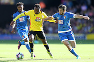 Camilo Zuniga of Watford & Harry Arter of Bournemouth compete for the ball. Premier league match, Watford v AFC Bournemouth at Vicarage Road in Watford, London on Saturday 1st October 2016.<br /> pic by John Patrick Fletcher, Andrew Orchard sports photography.